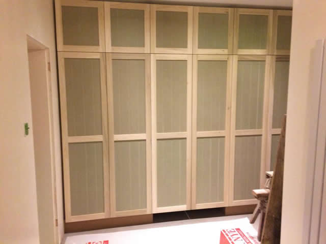 Bespoke cupboard installed with pull out desk in Brockham 3