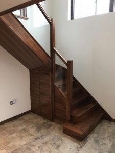 Walnut staircase with glass balastrade 12