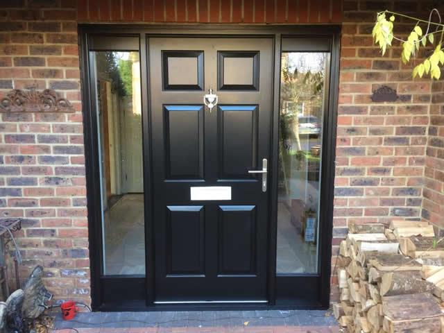 Entrance door with side lights finished in Black satin - After 2