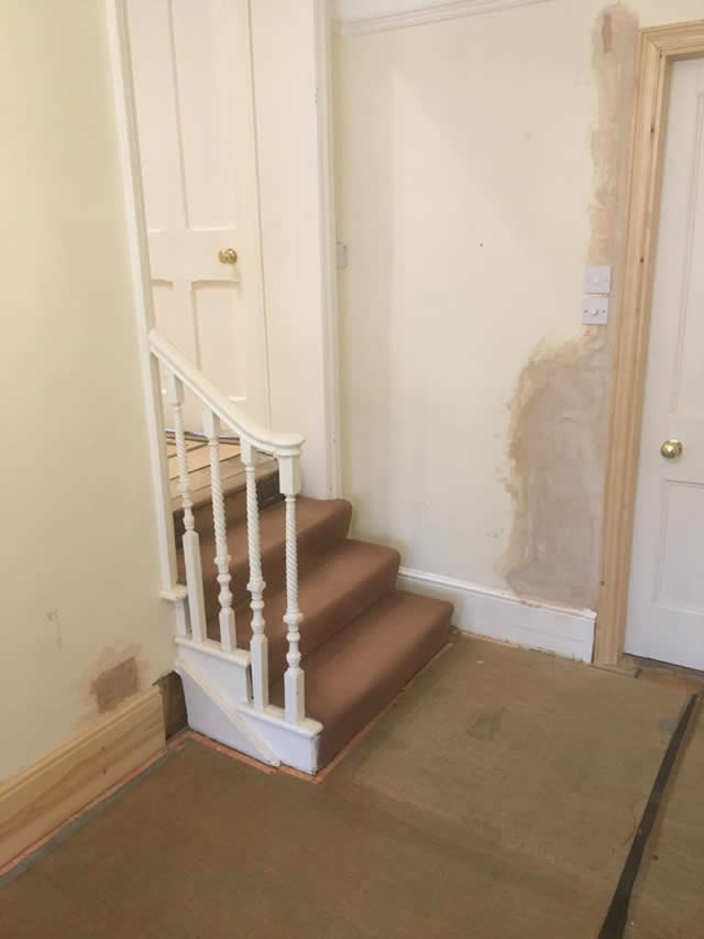 Staircase in Douglas Fir leading into dressing room 1