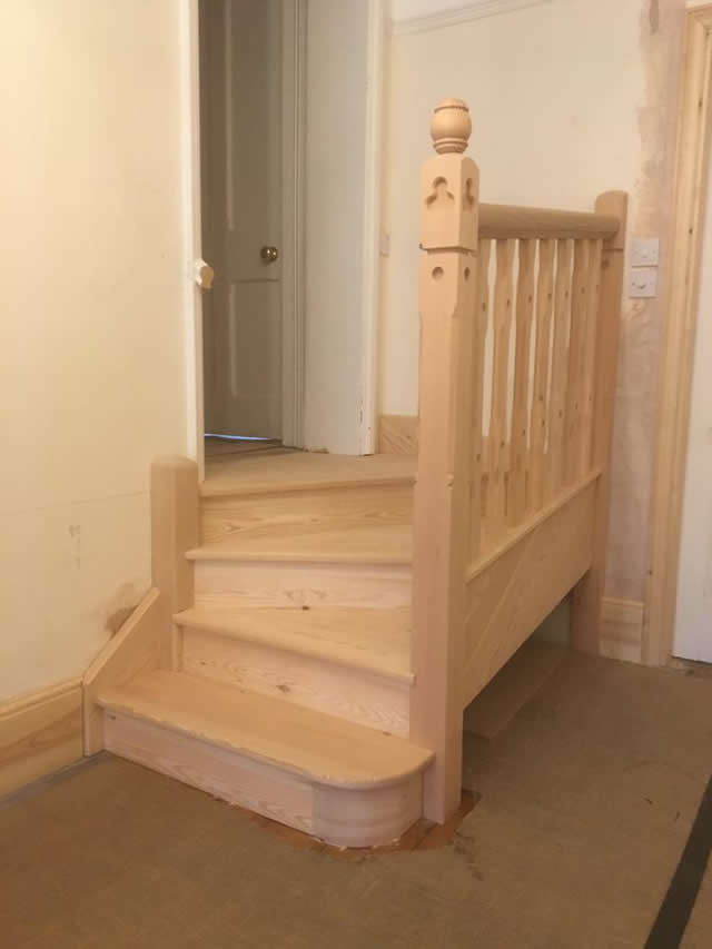 Staircase in Douglas Fir leading into dressing room 9