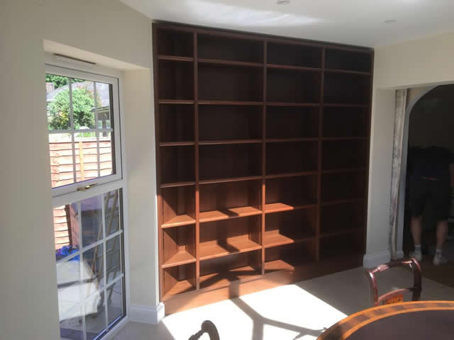 Hardwood bookcases installed in Caterham Surrey 9