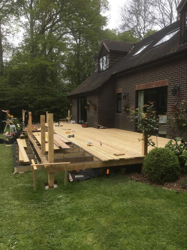 Large bespoke decking are in Newdigate