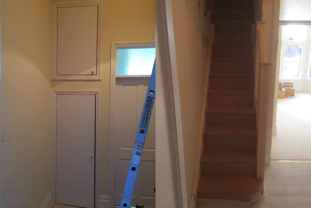 Before and After - New staircase installed leading to storage space in loft