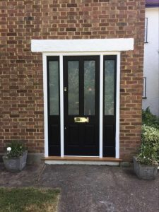 Porch front door with glazed sidelights in black satin finish 4